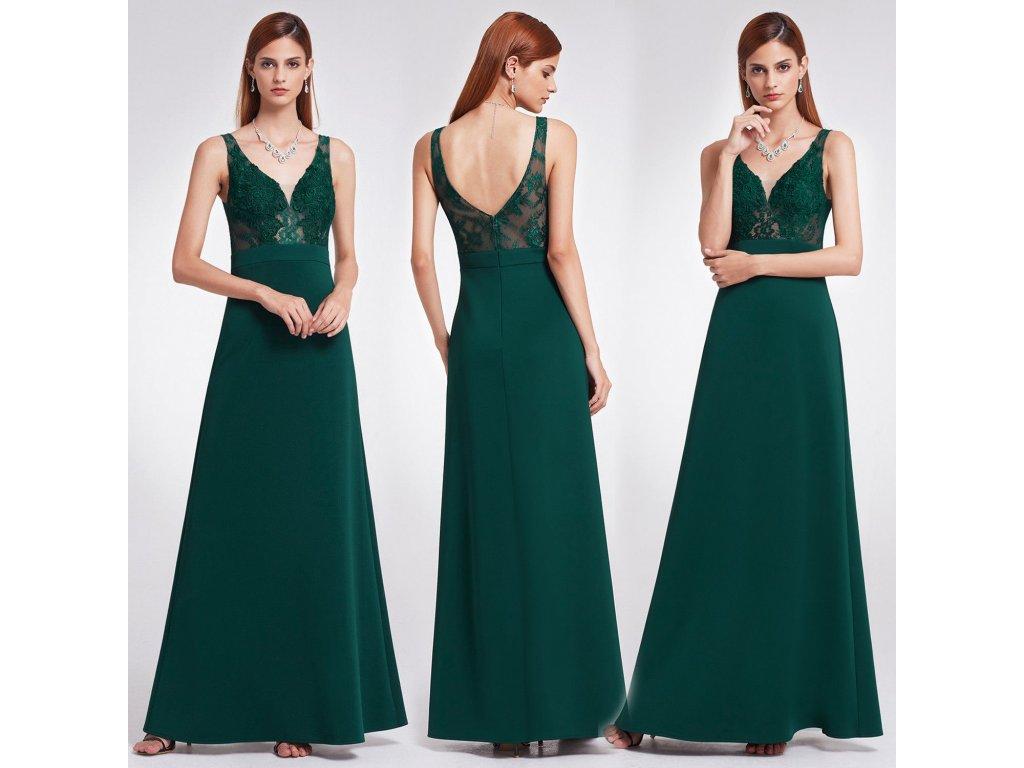 Tmavě zelené společenské šaty s krajkou na ramínka do tanečních 40 ... dfcfbe67d7