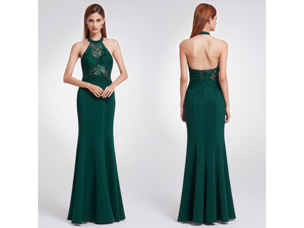 Zelené dlouhé společenské šaty s krajkou za krk sexy 36-38 - www ... a49f4dda3c