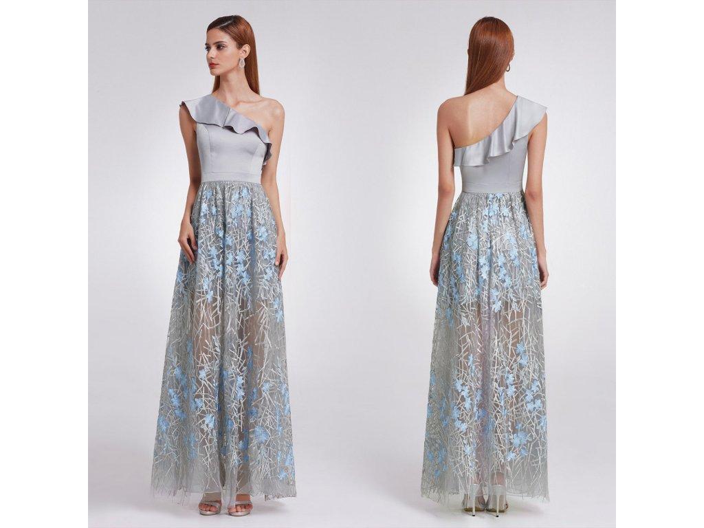 5b8ef618de2 Šedé dlouhé společenské šaty na jedno rameno s volánem 42 - www ...