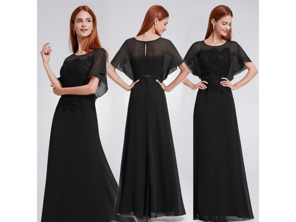 Černé dlouhé luxusní společenské šaty s rukávy 42 - www ... 9aecc2589f