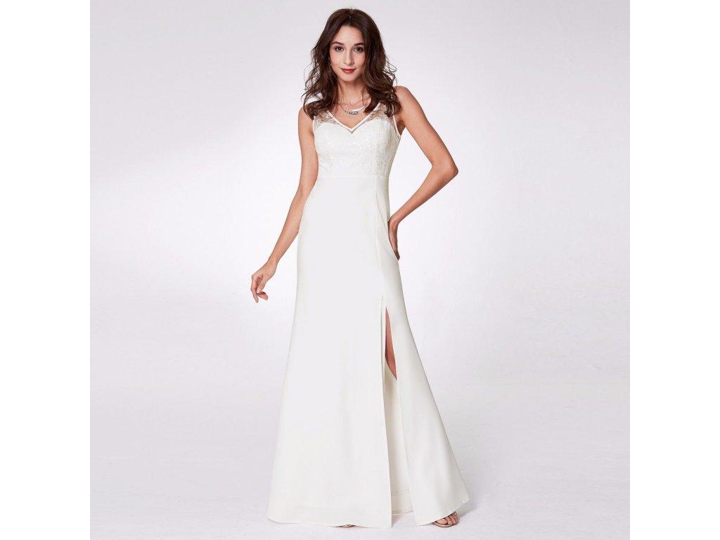 Bílé champagne dlouhé svatební šaty s rozparkem zdobené krajkou a ... 006ecb82a7