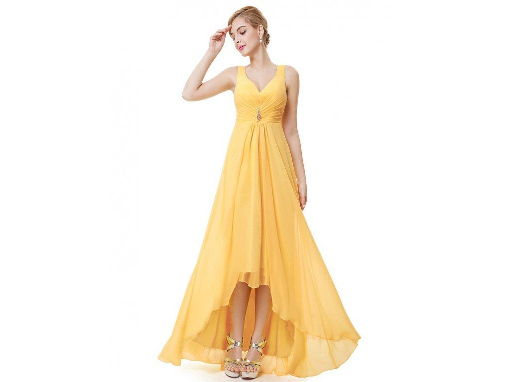 ac6a46627051 Žluté společenské šaty na ramínka vpředu kratší vhodné pro těhotné ...