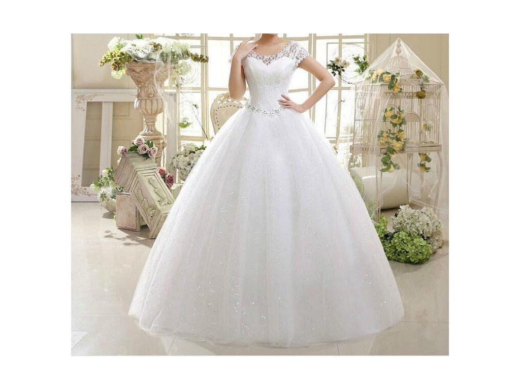 4e74262152e3 Bílé dlouhé svatební šaty luxusní s krajkou štrasem s rukávky 42-48 ...