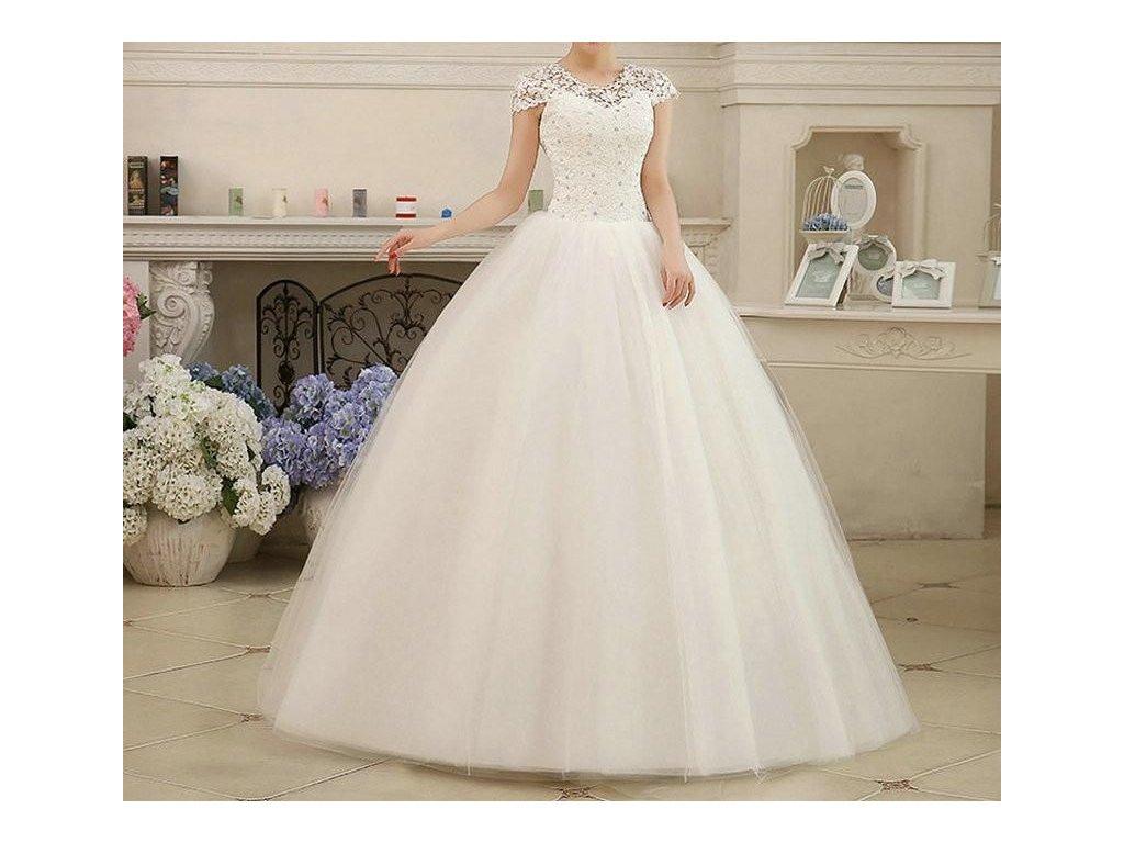 Bílé dlouhé luxusní svatební šaty s krajkovým topem a rukávky 44-50 ... b90a682c19