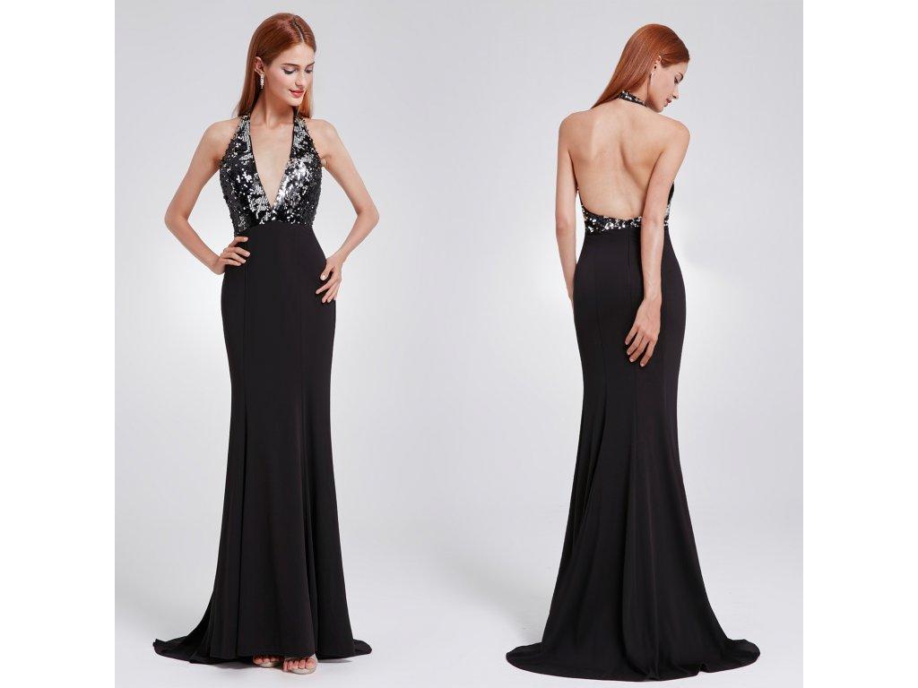 8a4fce712080 Černé společenské šaty s flitry za krk sexy s vlečkou 44 - www ...