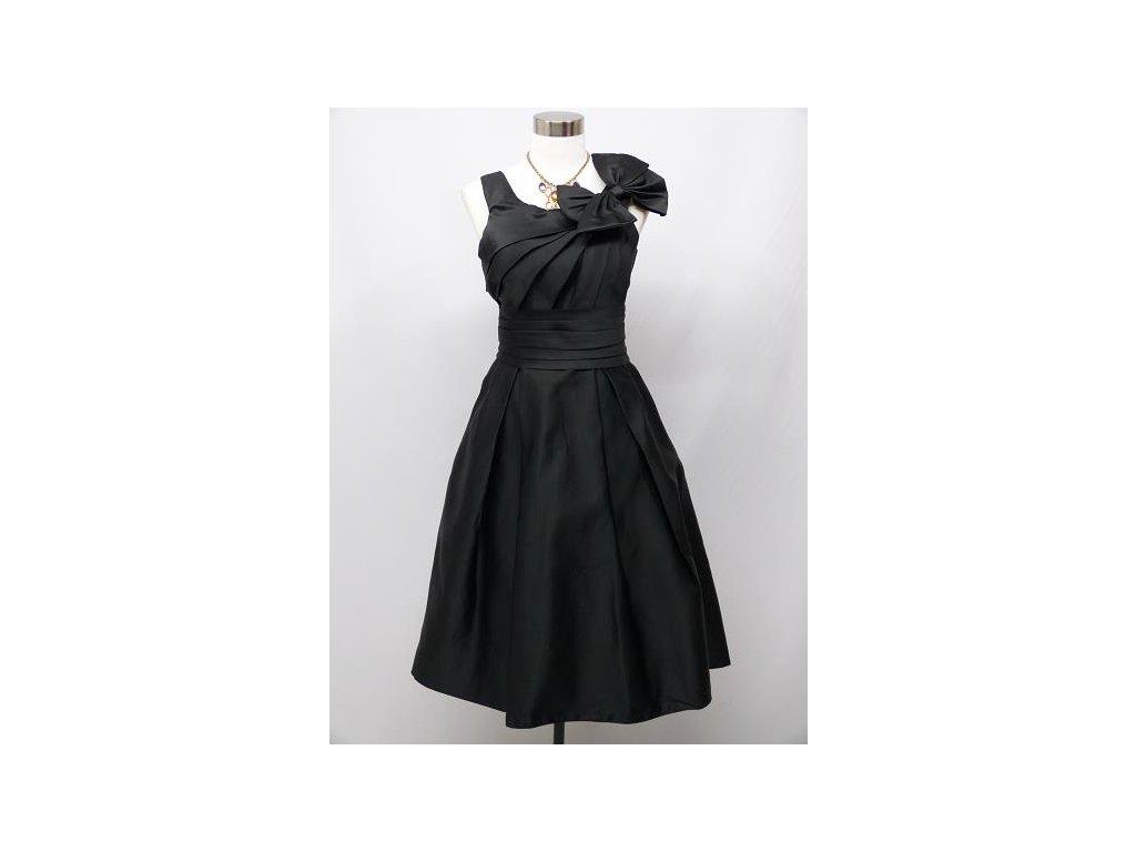 1a65ed9eb0c8 Černé krátké společenské šaty se sklady a mašlí do tanečních pro ...