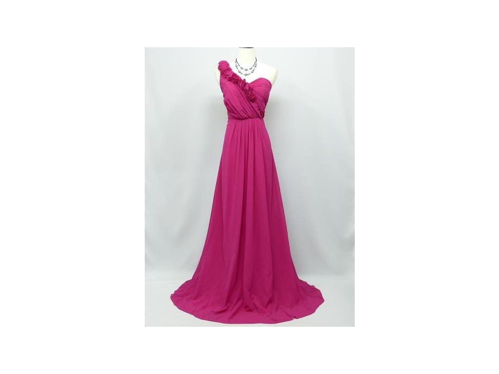1c176a6755fa Růžové dlouhé společenské šaty na jedno rameno s květinovou ozdobou ...