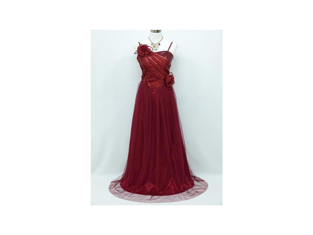 aa7ba8344d9 Červené bordó společenské šaty se sklady na ples na svatbu 42-48 ...