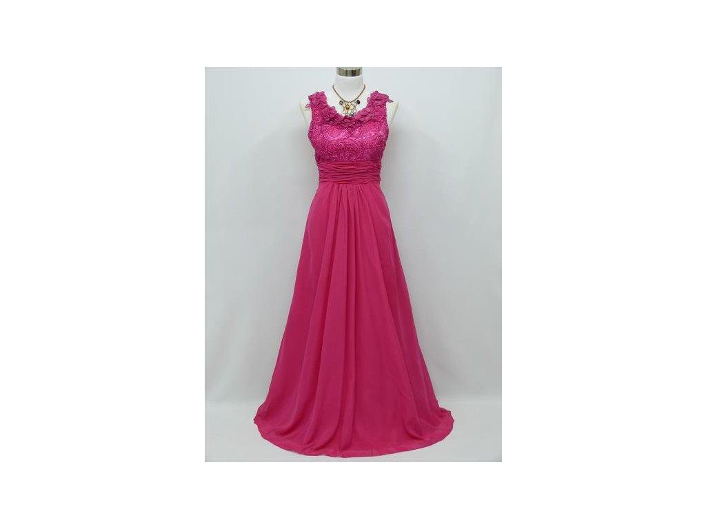 8c350ae67277 Růžové společenské šaty na široká ramínka s krajkovým topem na ...