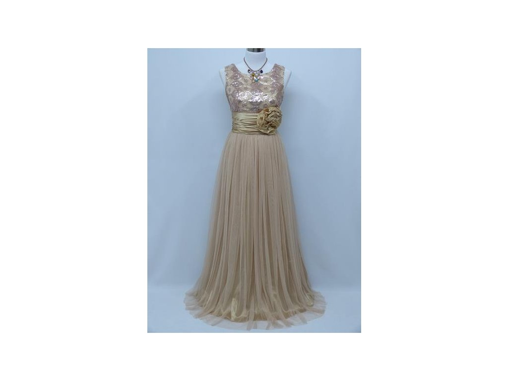 62839c39d9ea Béžové ivory společenské šaty na ples na svatbu 42-48 - www ...