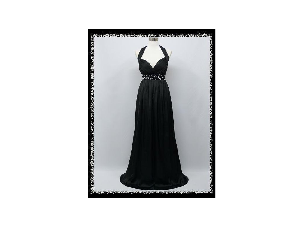 Černé dlouhé plesové šaty za krk s kamínky pod prsy i pro těhotné 40 ... f9725eab22