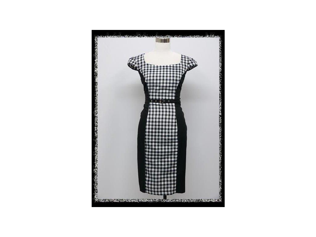 a3236fd3d5b Černobílé kostkované pouzdrové business šaty po kolena 44-46 - www ...