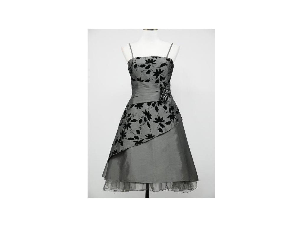 bbe10e87e8e6 Šedé stříbrné krátké retro šaty s potiskem 38-42 - www ...