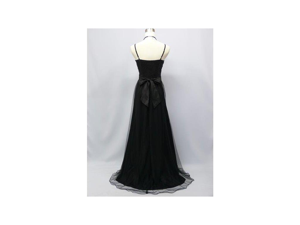 f9de70e43b8b Černé elegantní dlouhé společenské šaty s krajkou a perličkami na ...