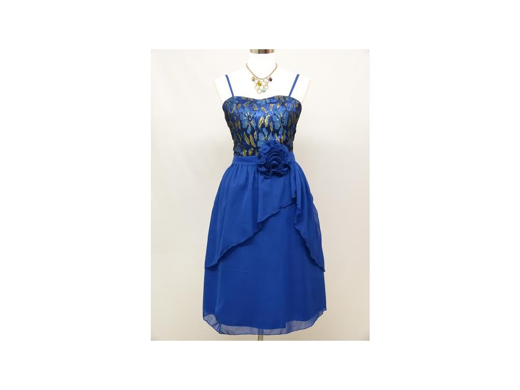 eb3193125288 Modré krátké společenské šaty koktejlky na ples s krajkou 44-52 ...
