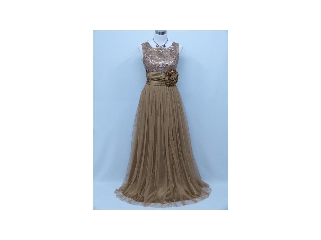 ca415e61a39 Zlaté hnědé krémové levné společenské šaty na ples na svatbu 44-48 ...