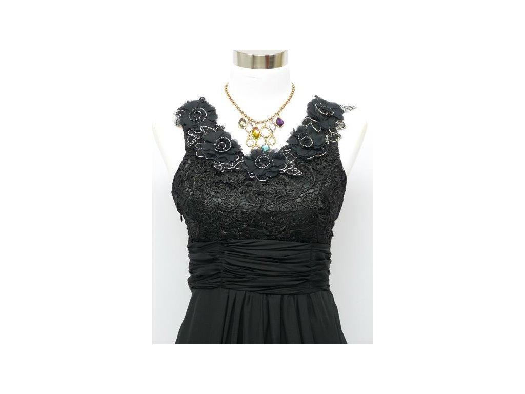 Černé dlouhé plesové šaty s květinami na široké ramínka na ples C4036b ... 0a7654fec2