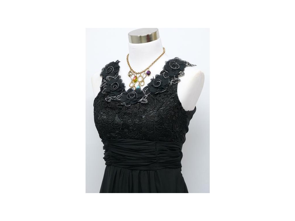 ... Černé dlouhé plesové šaty s květinami na široké ramínka na ples C4036c  ... 62ff81ef55