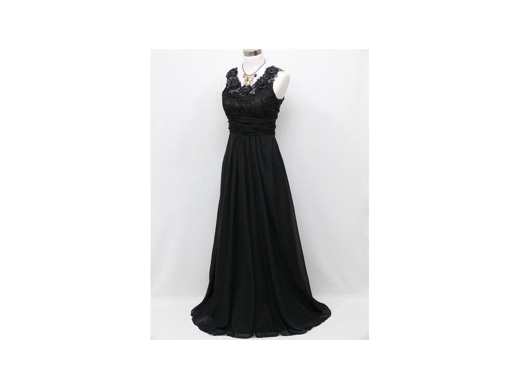 af2cbe4220c1 ... Černé dlouhé plesové šaty s květinami na široké ramínka na ples C4036d  ...