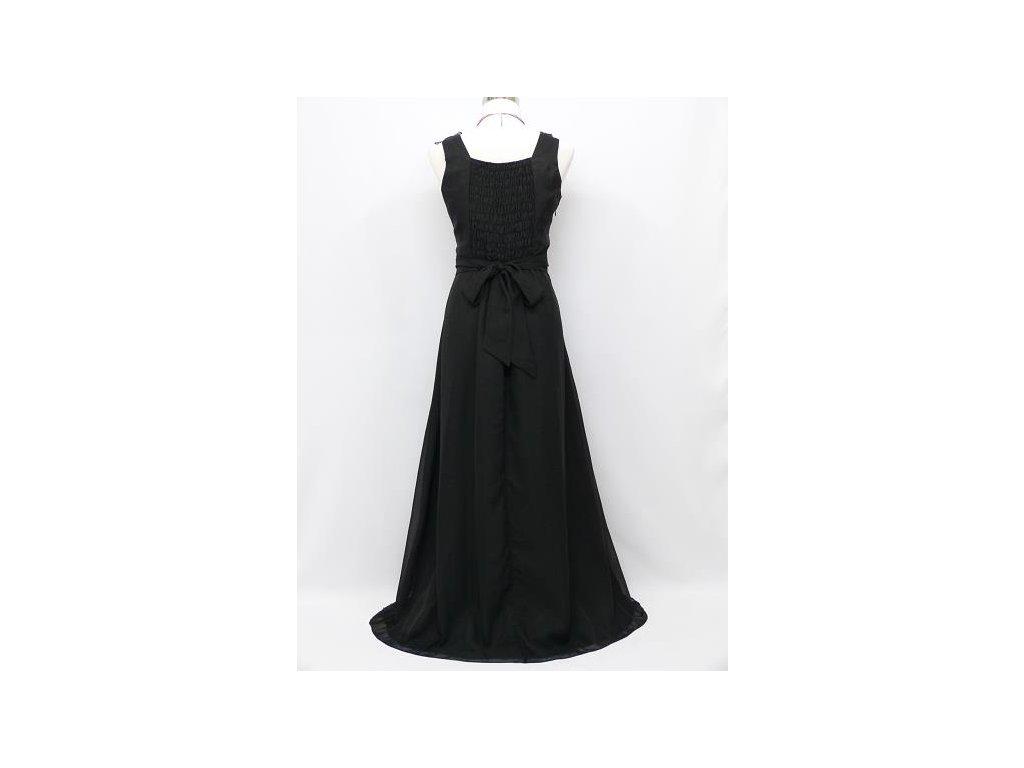 ... Černé dlouhé plesové šaty s květinami na široké ramínka na ples C4036e 4efd1c0582