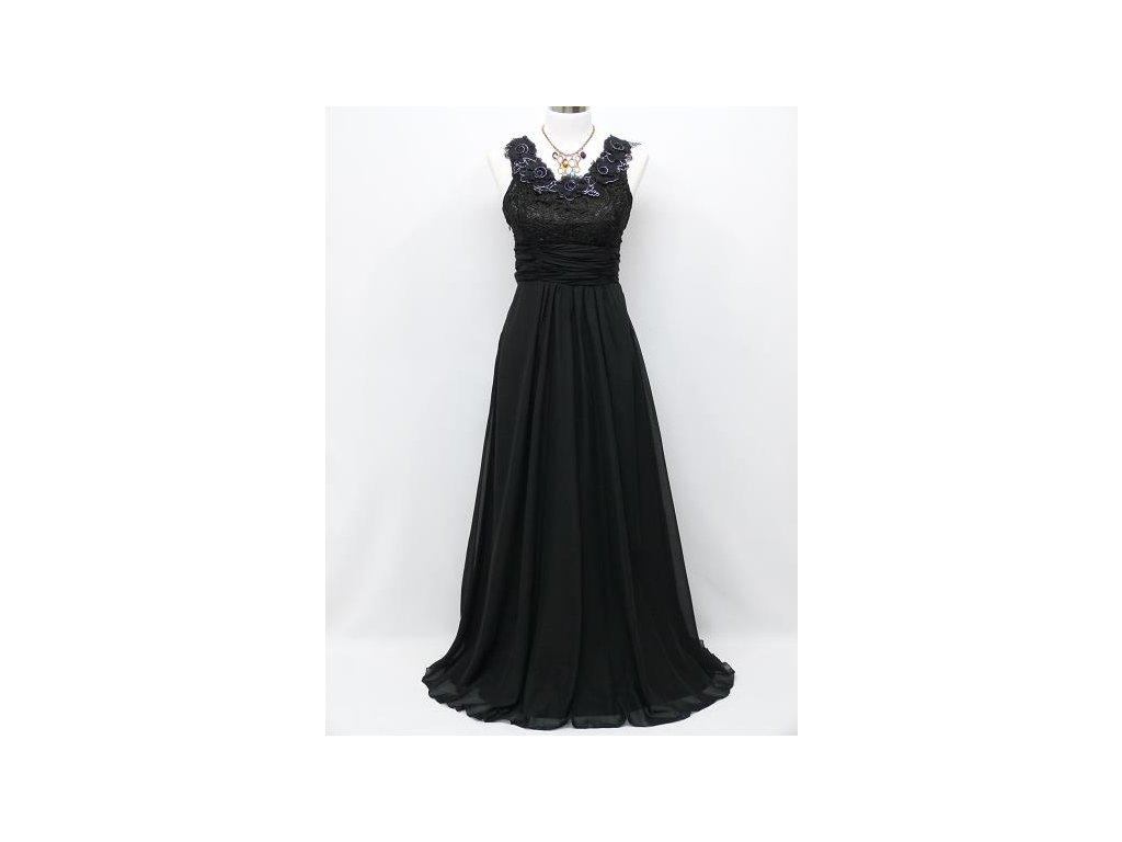 Černé dlouhé plesové šaty s květinami na široké ramínka na ples 40 ... 47aa457c5d