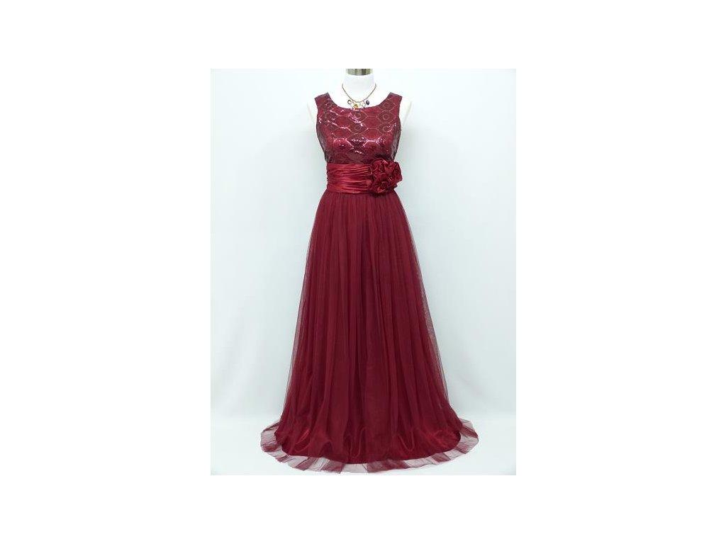ae0e8f4283c Červené bordó vínové dlouhé společenské šaty na ples 46-50 - www ...