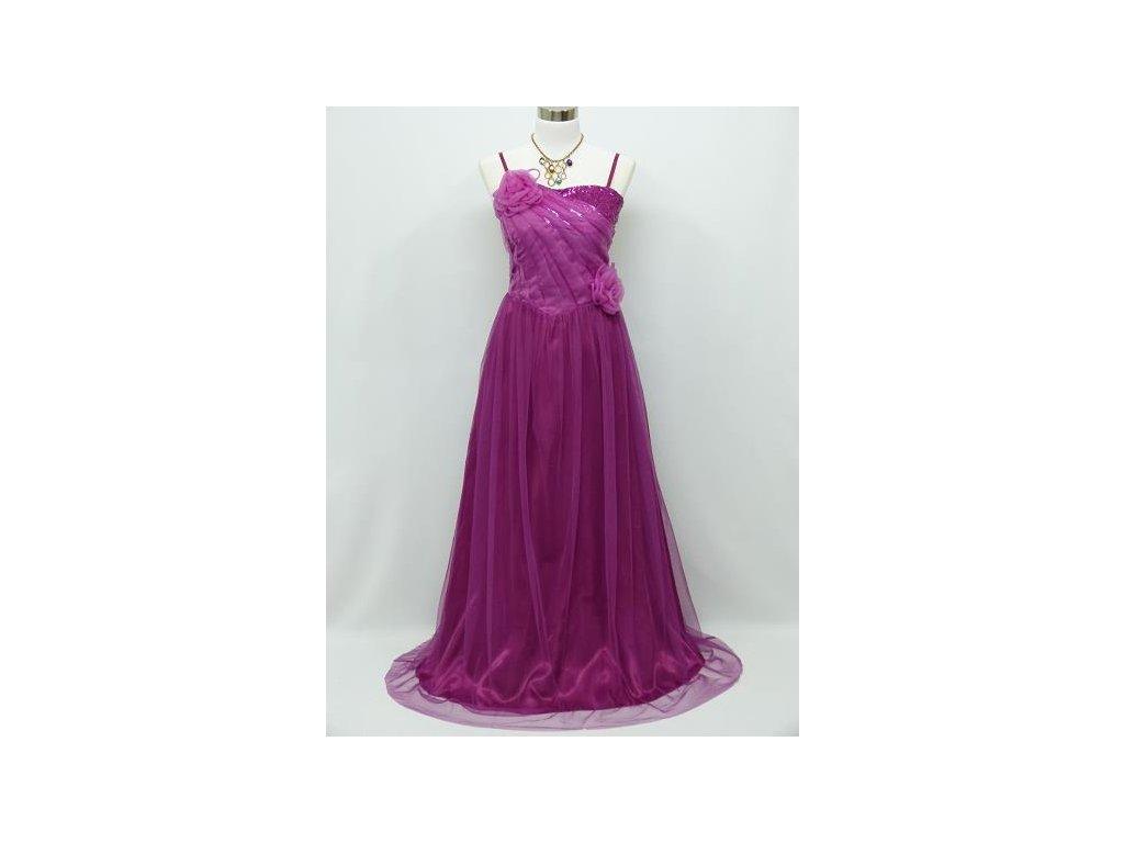 cdc903ed7600 Fialové růžové dlouhé společenské šaty se sklady na ples na svatbu ...