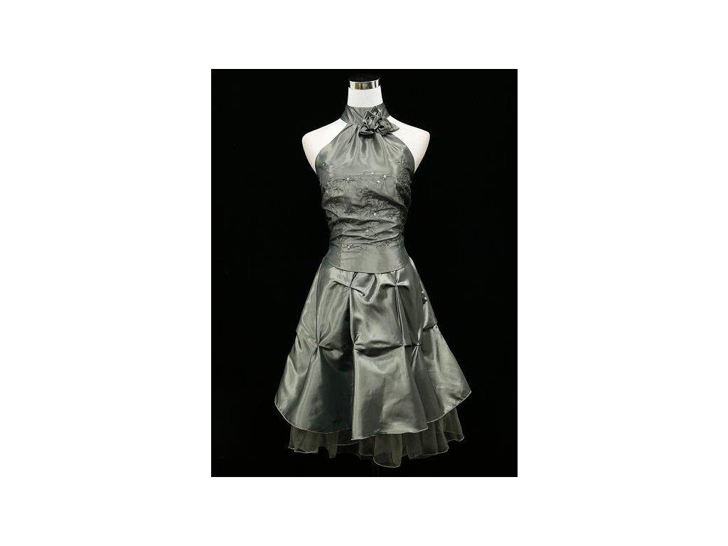 2b1228dc8d11 Šedé stříbrné krátké společenské šaty za krk na ples do tanečních B2476a