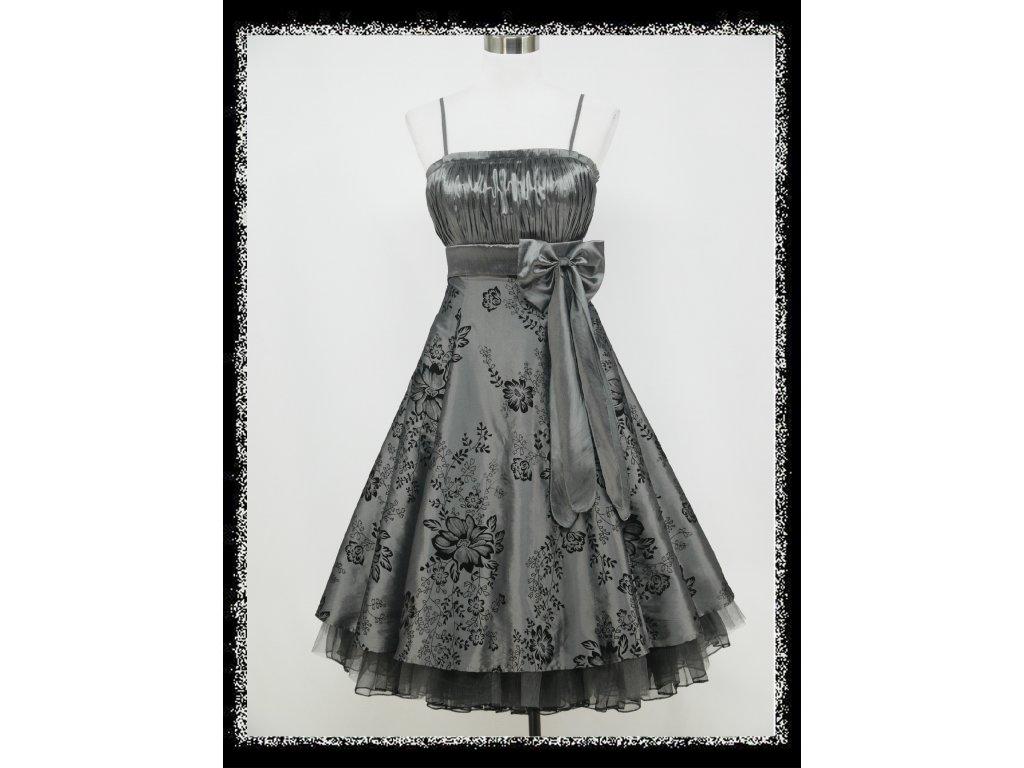da2c3ca07f8a Šedé stříbrné krátké společenské retro šaty nejen pro plnoštíhlé na ...