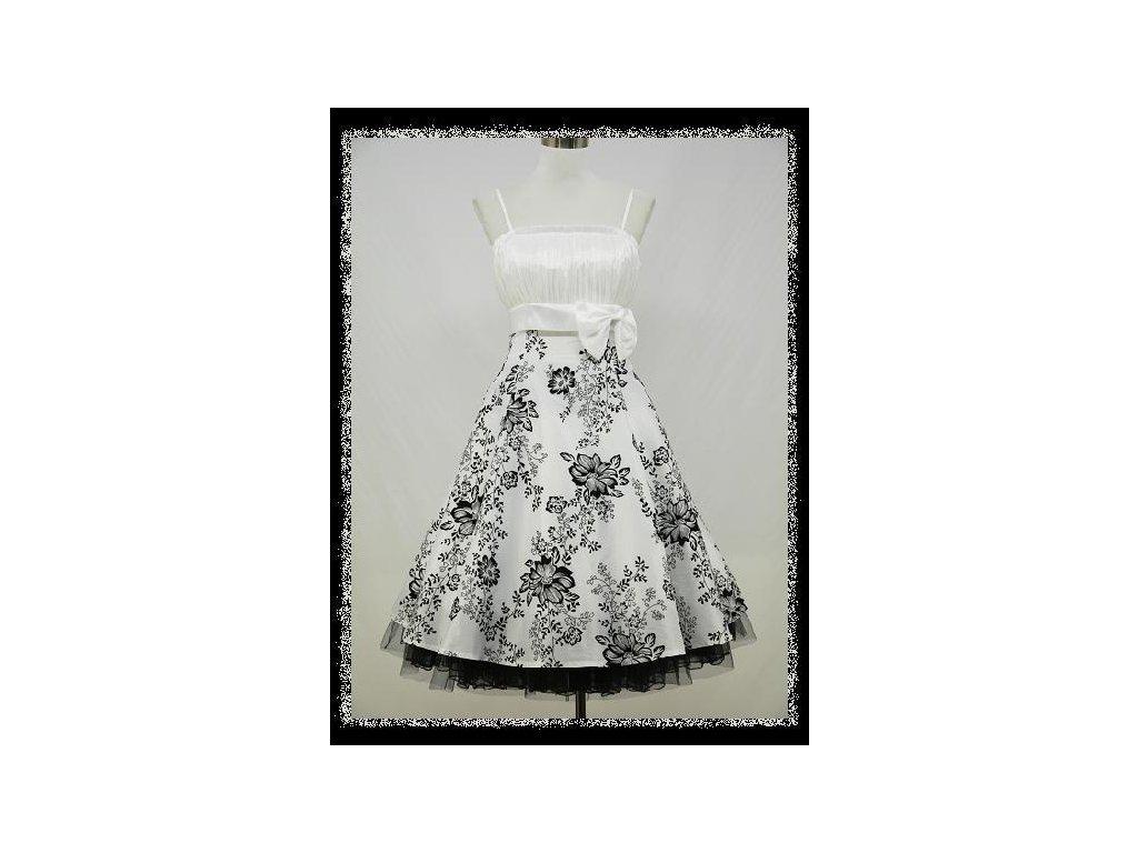 Bílé černé krátké společenské retro šaty na ples na svatbu 46-50 ... bd4cb36d71