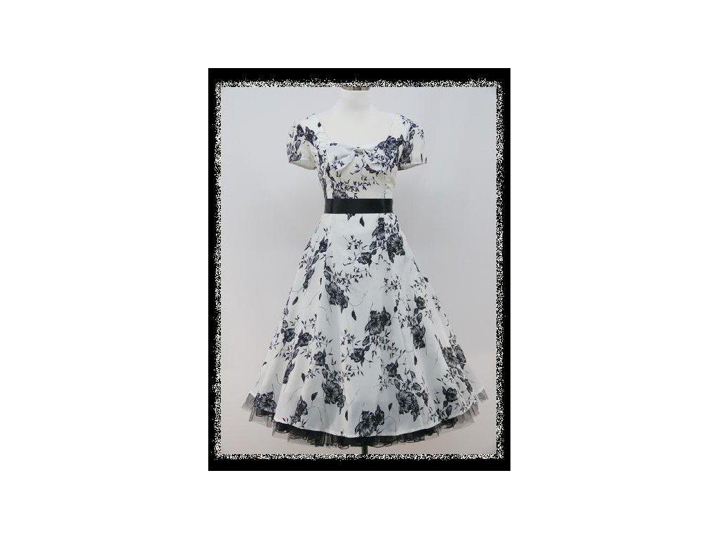Černobílé krátké společenské šaty s květinovým potiskem s rukávkem na ples  DR0747 571bc94f27