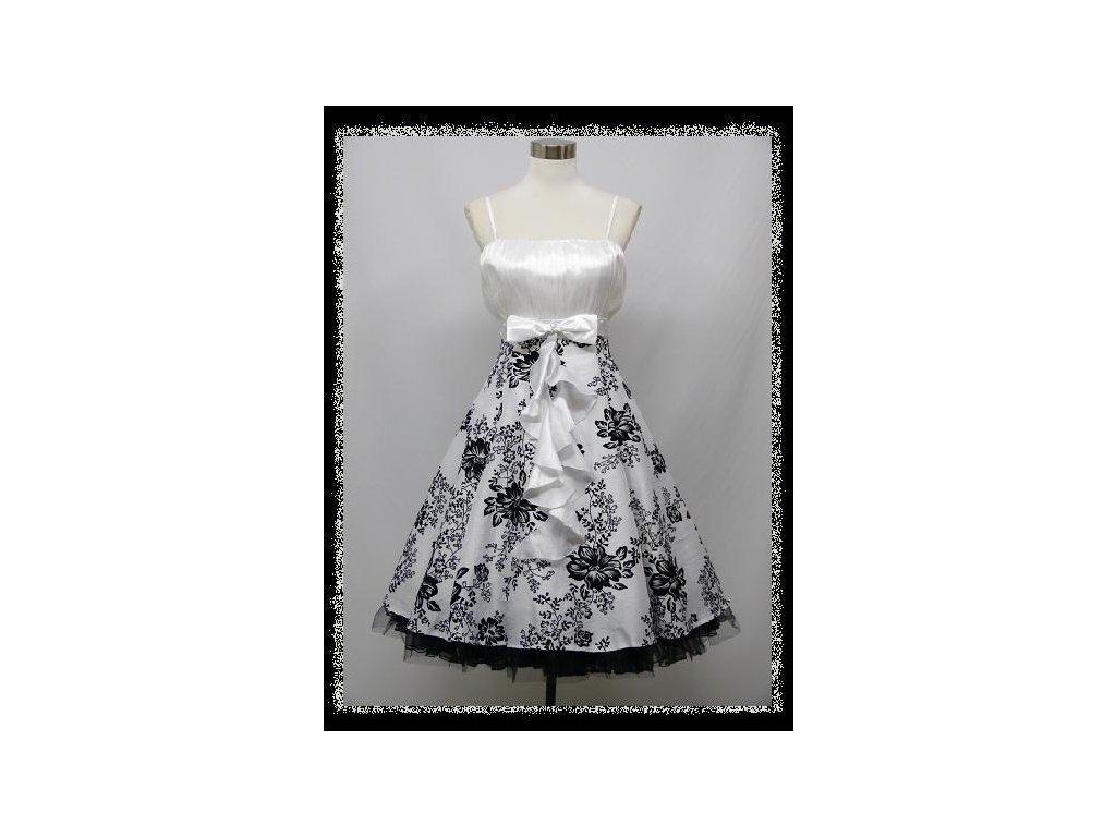 Bílé černé krátké plesové šaty retro na ples na svatbu 50-54 - www ... cfa6365173