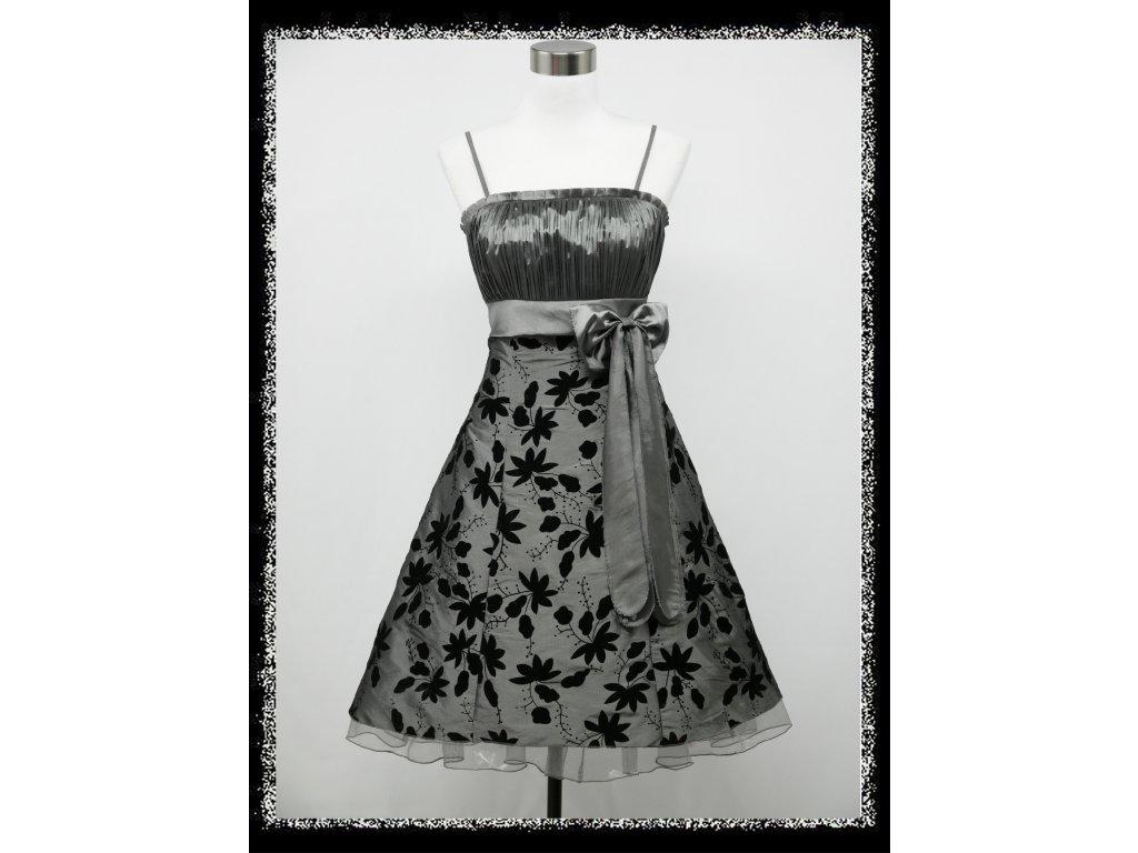 82e3fffe6f5a Stříbrné krátké plesové šaty retro nejen pro plnoštíhlé baculky 46 ...