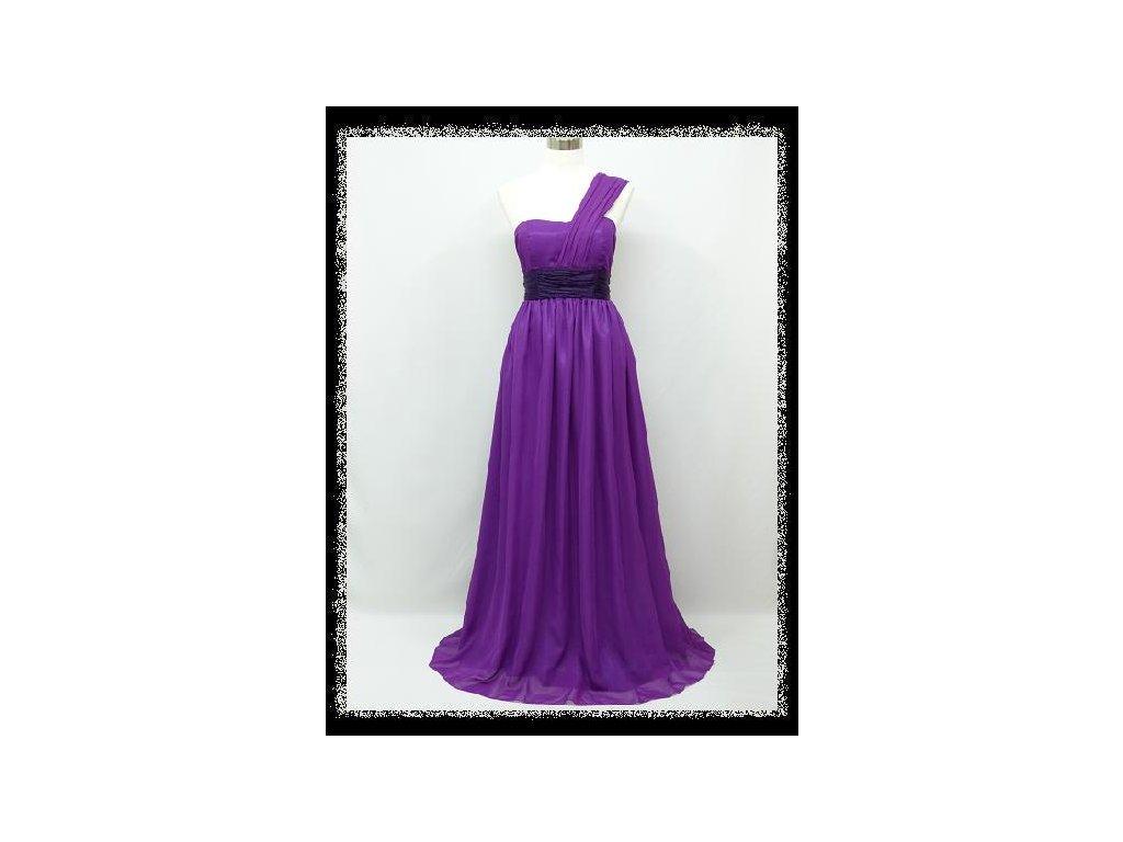 b9905a0fff19 Fialové dlouhé večerní společenské šaty těhotenské na jedno rameno ...