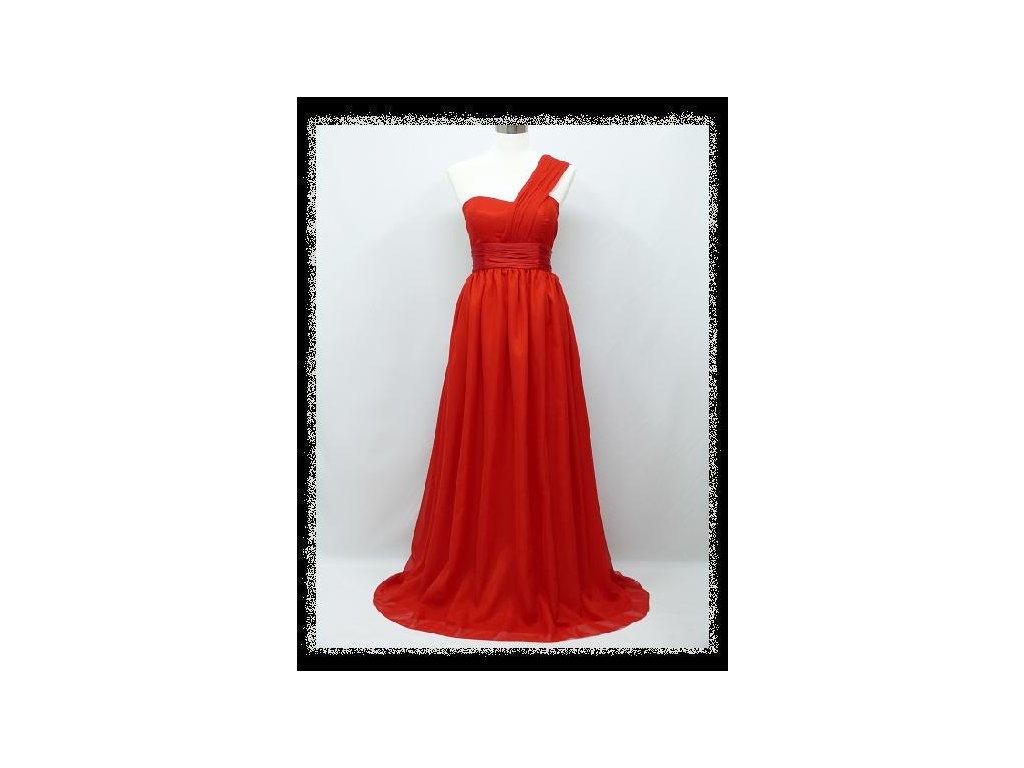 Červené dlouhé večerní společenské šaty těhotenské na jedno rameno ... 7bf62edc03