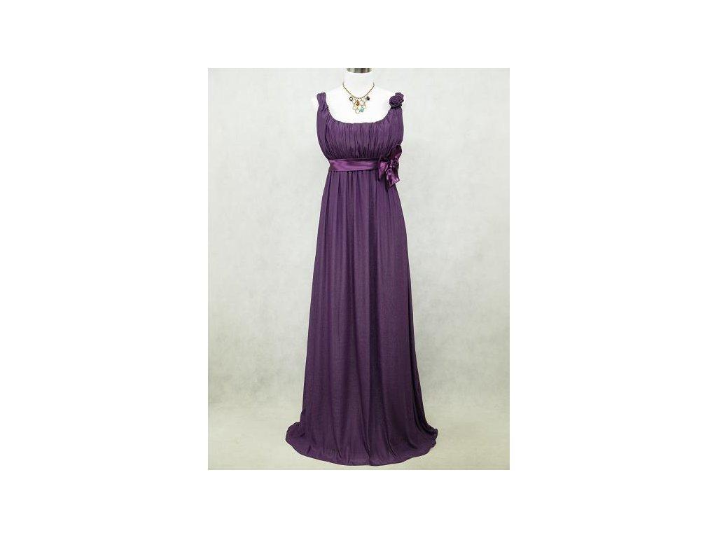 2d86e59d0f2c Fialové dlouhé šifonové šaty empírové antického střihu i pro těhotné ...
