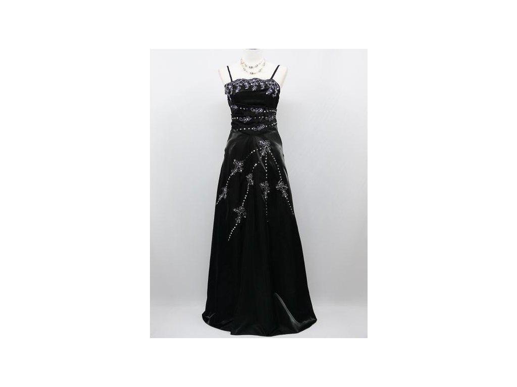 e9f5f6a8a0e1 Černé dlouhé leskléplesové šaty se s tříbrnou krajkou pro plnoštíhlé B8194a