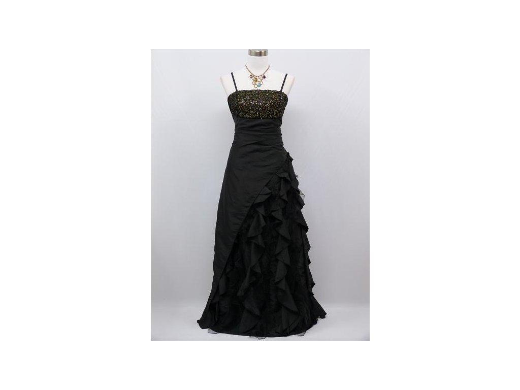 Černé dlouhé společenské šaty s volány a zlatými flitry na ples pro ... 8ee3435747