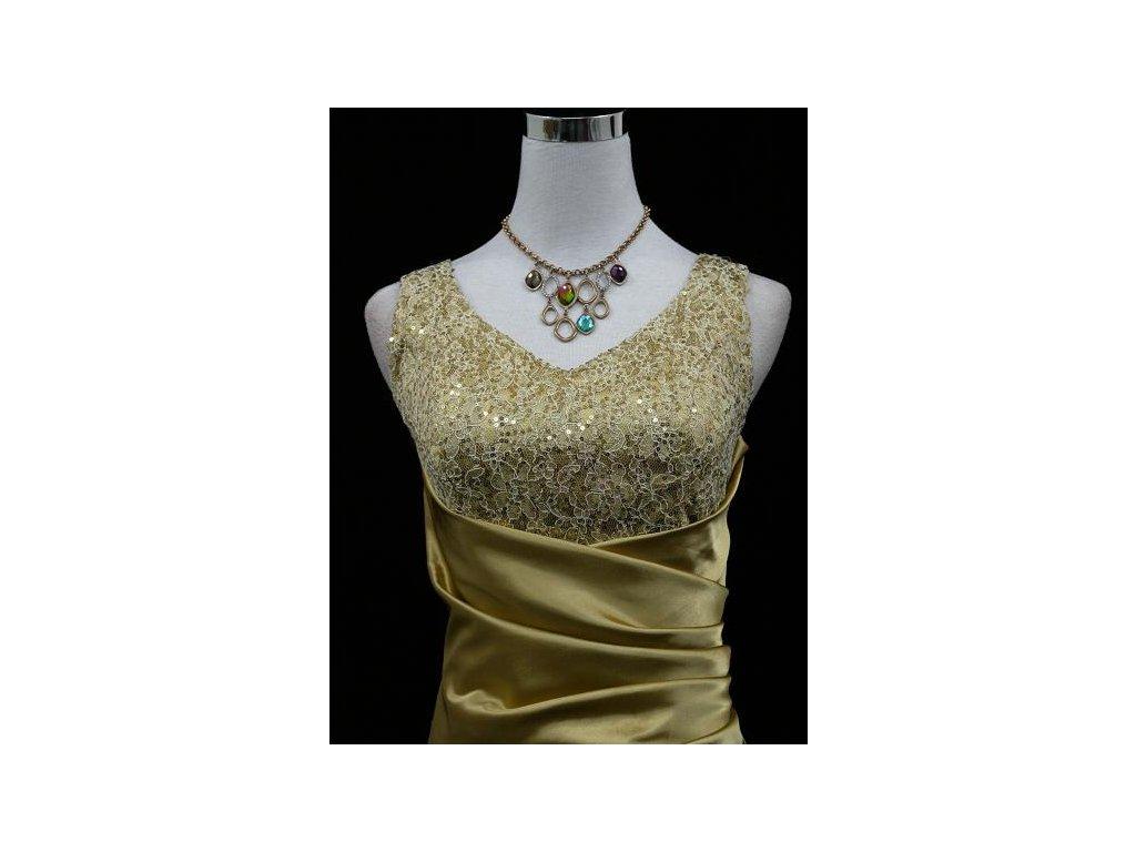 ... Zlaté dlouhé společenské zeštíhlující šaty na ples s flitry B2544d ... ce117c847df