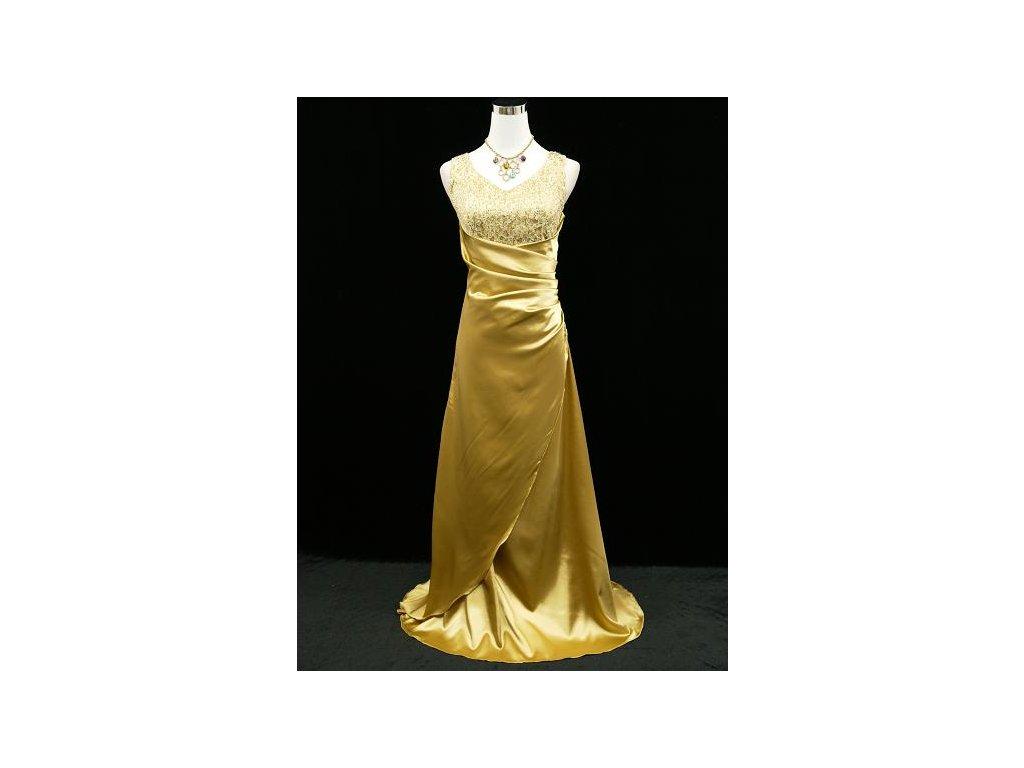 Zlaté žluté dlouhé společenské zeštíhlující šaty na ples s flitry ... d878e6630f1