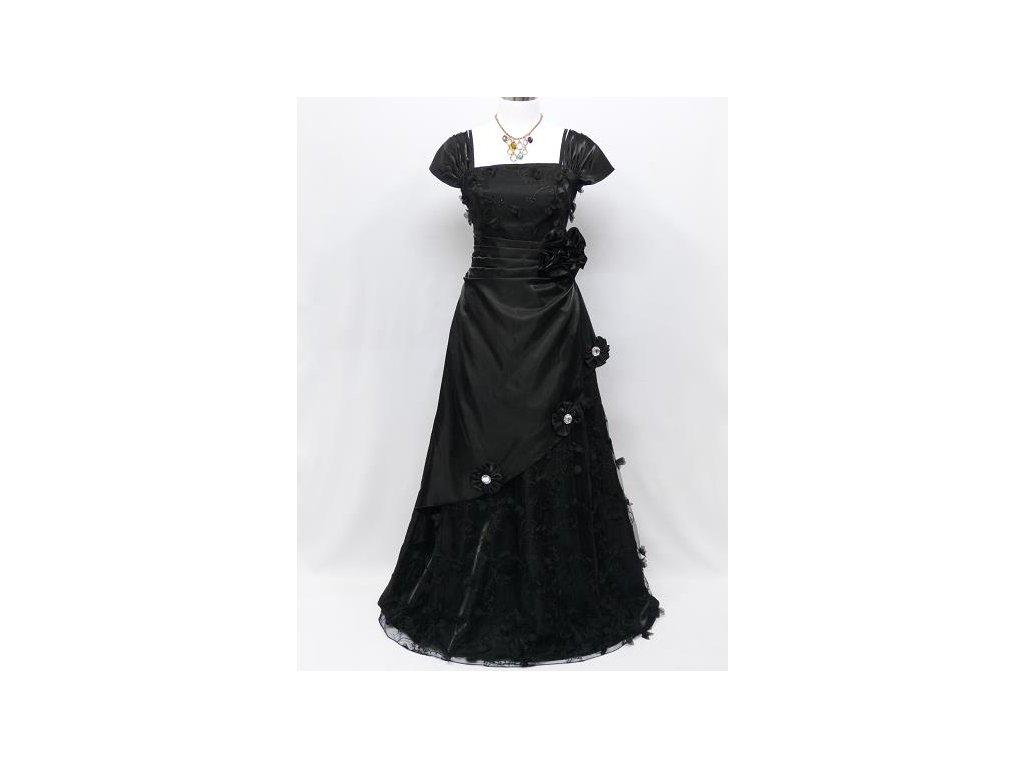 Černé dlouhé plesové šaty s rukávy zdobené na ples do divadla - www ... c8c7c1b3d0f