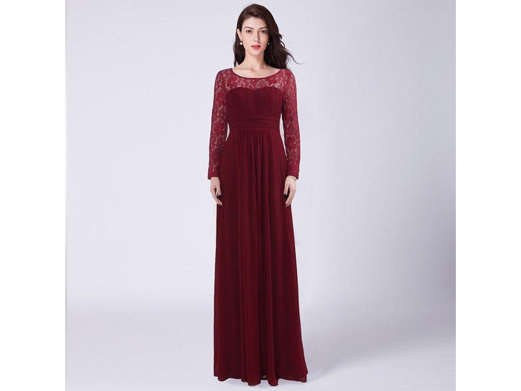 ... Červené vínovébordé dlouhé společenské šaty s krajkovými rukávy  těhotenské 1 c68a90be1e