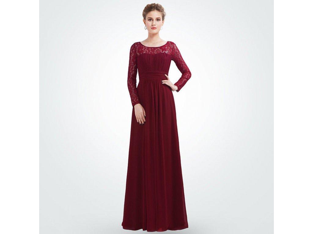 Červené vínovébordé dlouhé společenské šaty s krajkovými rukávy těhotenské 4 193f515762