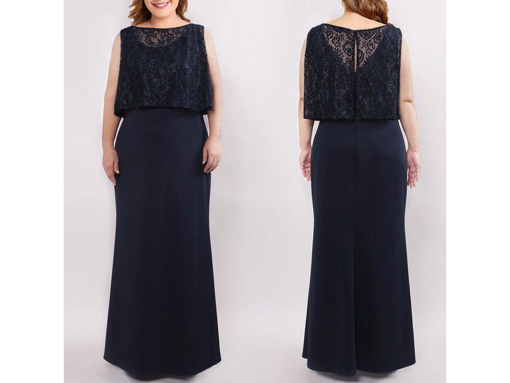 Modré plus size společenské šaty pro plnoštíhlé dámy s krajkou - www ... e810fe5992d