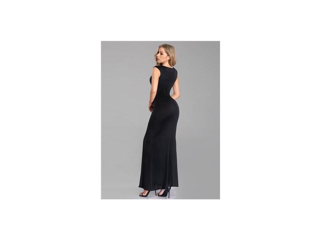 ... Černé splývavé dlouhé plesové šaty na široká ramínka se stříbrnou  ozdobou na rameni 3 ... 337a59aef7
