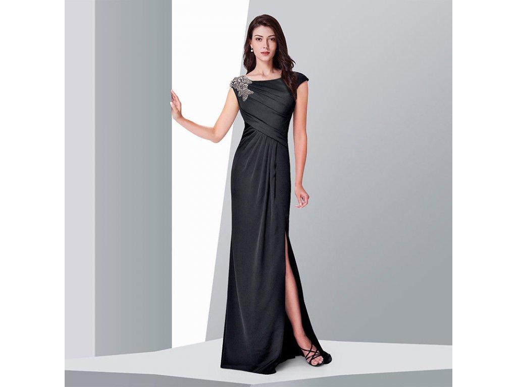 ... Černé splývavé dlouhé plesové šaty na široká ramínka se stříbrnou  ozdobou na rameni 1 0df3b06b66