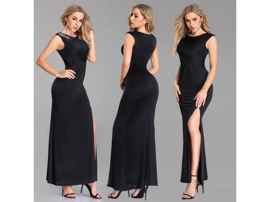Černé splývavé dlouhé plesové šaty na široká ramínka se stříbrnou ozdobou  na rameni 065f887478