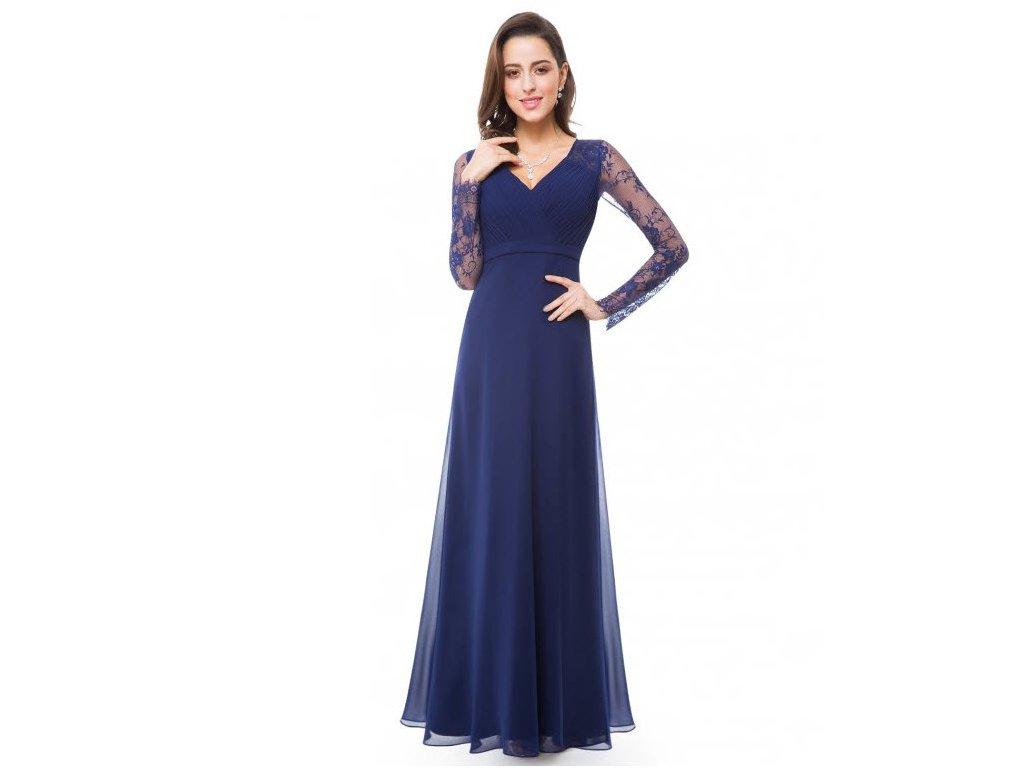 eea4a1323e8c Modré dlouhé společenské šaty s krajkovým rukávem - www ...
