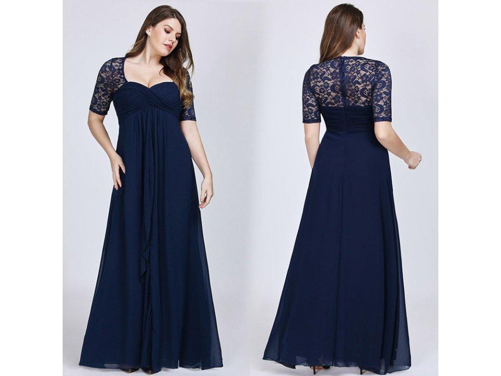 b89c2c66a75 Modré dlouhé společenské šaty s rukávem pro plnoštíhlé či těhulky ...