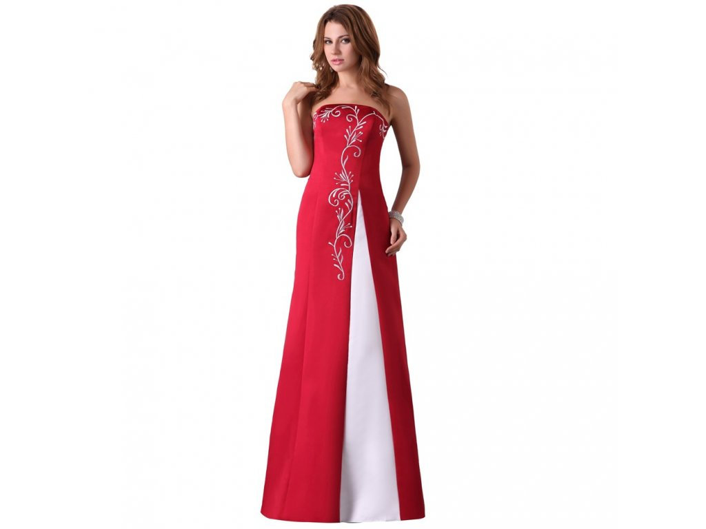 a2673680e994 Červené bílé dlouhé společenské svatební šaty bez ramínek - www ...